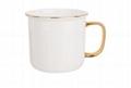 Gold rim handle ceramic enamel cup