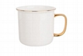 Gold rim handle ceramic enamel cup
