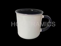 11oz Sublimation ceramic enamel cup , inside &hanlde color mug