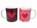 Heart logo change mug mug ,. procelain