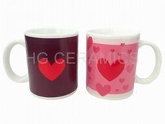 Heart logo change mug mug ,. procelain color change mug , magic mug