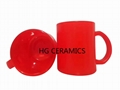 Fluorescence Red color glass mug