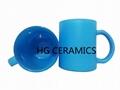 Fluorescence Blue color glass mug
