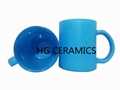 Fluorescence Blue color glass mug