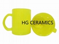 Fluorescence Yellow color glass mug