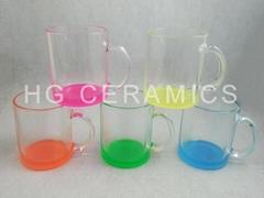 11oz Sublimation glass mug with color bottom