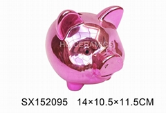 Pig coin bank  ,  Metallic pink color