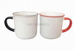11oz Sublimation ceramic enamel cup , color rim and handle