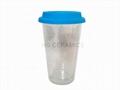 12oz double wall glass mug with silicone lid   1