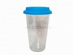 12oz double wall glass mug with silicone lid