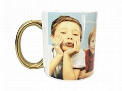 11oz Sublimation white mug with gold /si  er handle