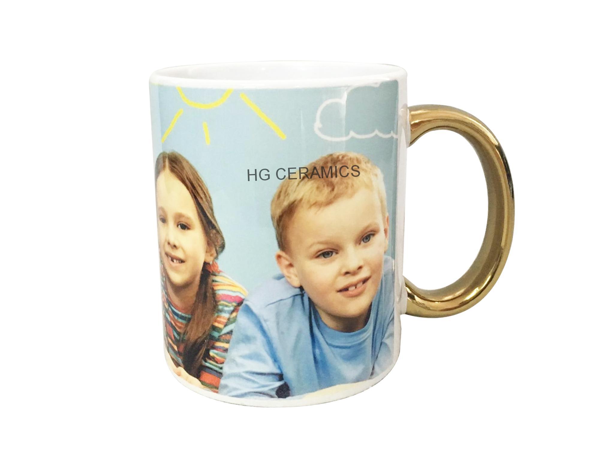 11oz Sublimation white mug with gold /si  er handle  2