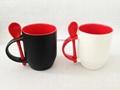 12oz inside color outside black matte finished  spoon mug
