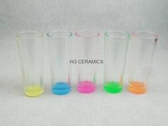 2.5oz  sho0t glass  ,  glass mug with color bottom