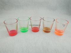 1.5oz  shot glass  ,  glass mug with color bottom