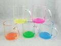 11oz clear glass mug with color bottom