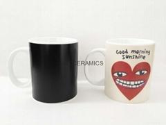 Magic mug , color change mug ,heart design color change mug