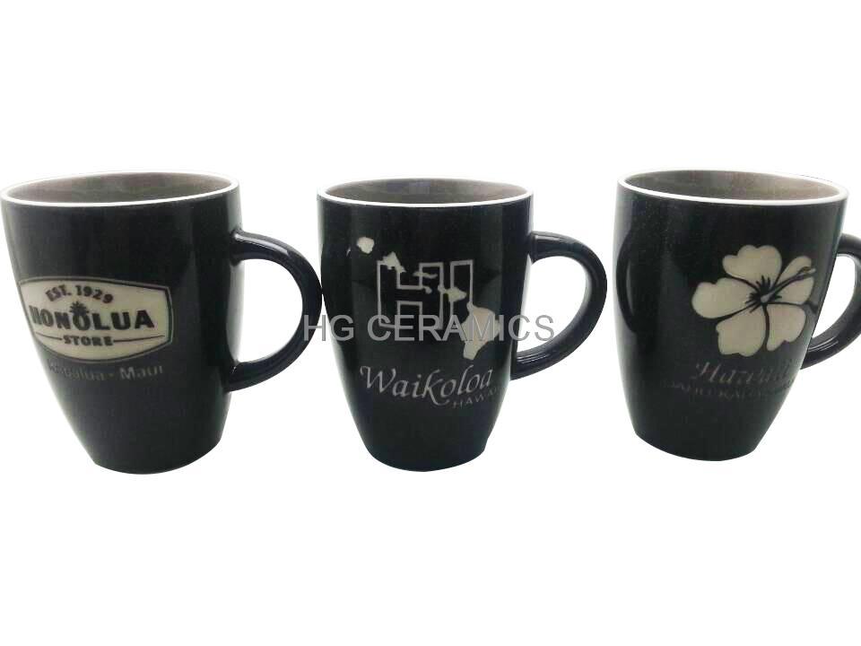 Black  Speckled glaze mug with laser logo   2