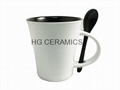 12oz  spoon mug ,12oz latte mug with