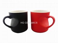 Heart shape color change mug