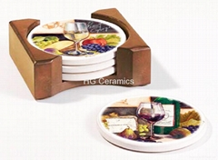 Ceramic Coasters with wood stand