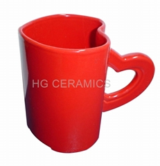 red  heart shaped mugs