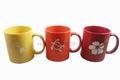 11oz yellow  red  color  mug with laser logo