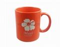 11oz orange color  mug with laser logo