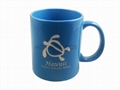 11oz light blue color  mug with laser logo