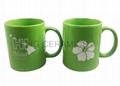 11oz green color  mug with laser logo