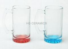 16oz Sublimation glass mug with color bottom