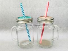 16oz Sublimation Mason jar ,Square  shape ,with handle