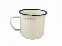 Sublimation  8cm  Enamel mug , blue rim , 9cm Enamel mug , high quality