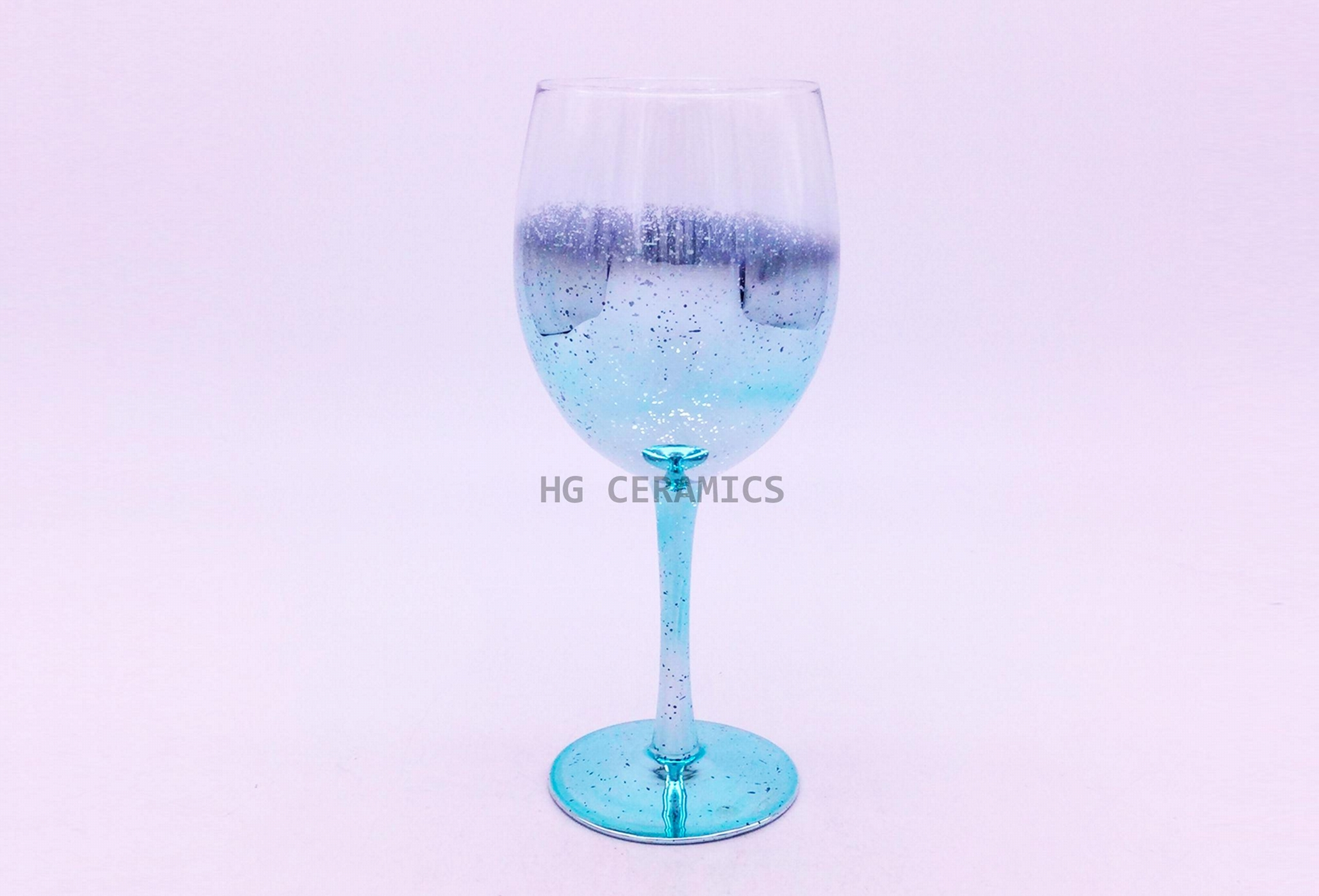 Chromed  Wine Glass ,Blue  1