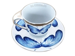 Mirror Anamorphic cup and saucer