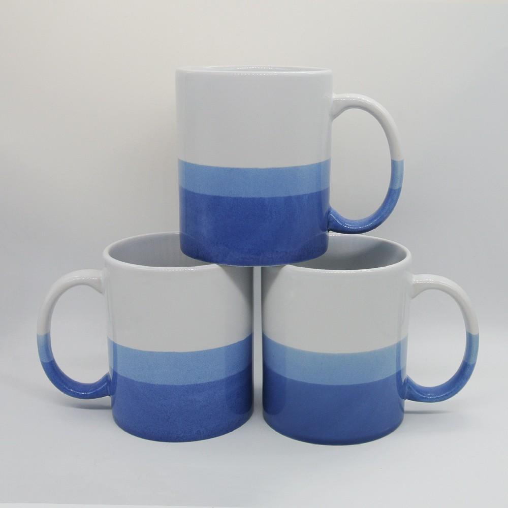 Three tone color glazed ceramic mug,11oz 1
