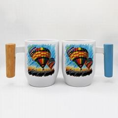 12oz sublimation mug with bamboo wood handle