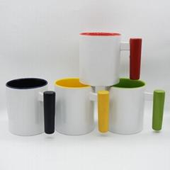 11oz sublimation mug with bamboo wood handle