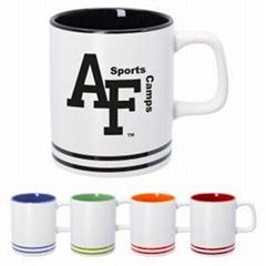 11oz ceramic mug with color banding around bottom