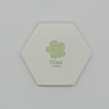 Color glazed hexagon ceramic coaster color coated for CO2 laser engraving