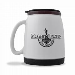 16oz ceramic travel mug with silicon base, PP lid