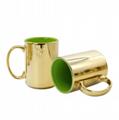 Inside color,outside metallic mug ,15oz