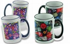 Sublimation Mug, 15oz Color Trim & Handle