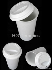 Thermal porcelain cup with silicone lid