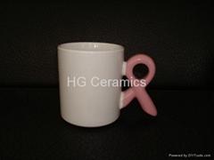 Ceramic mug with breast cancer ribbon handle
