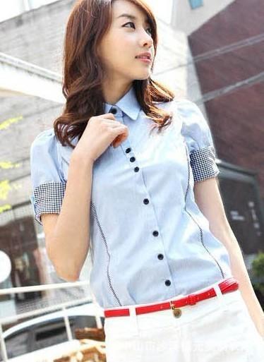 时尚短袖女式衬衣 5