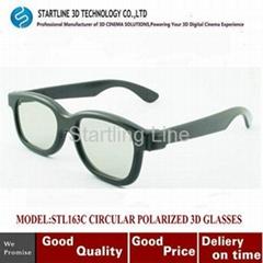 Black Plastic Circular Polarized Lens 3D Glasses For 3D Theater HDTV Blu-Ray DVD