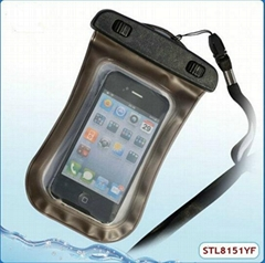 soft pvc waterproof case for swimming for iphone 4 with string
