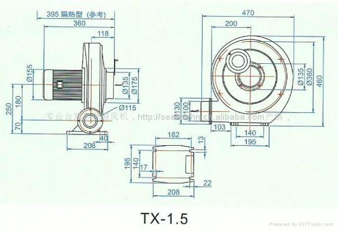 550W中壓透浦風機 TX-3/4風壓180mmAq 風量15m3/min