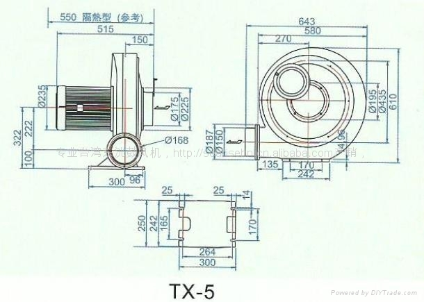 3.7KW turbo中壓風機 TX-5風壓350mmAq風量38m3/min